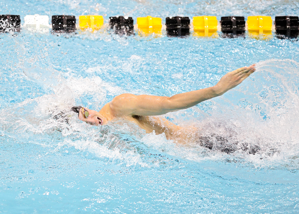 Iowa's Thomas Pederson swims the men's 100 yard freestyle event during their meet at the Campus Recreation and Wellness Center in Iowa City on Friday, February 7, 2020. (Stephen Mally/hawkeyesports.com)