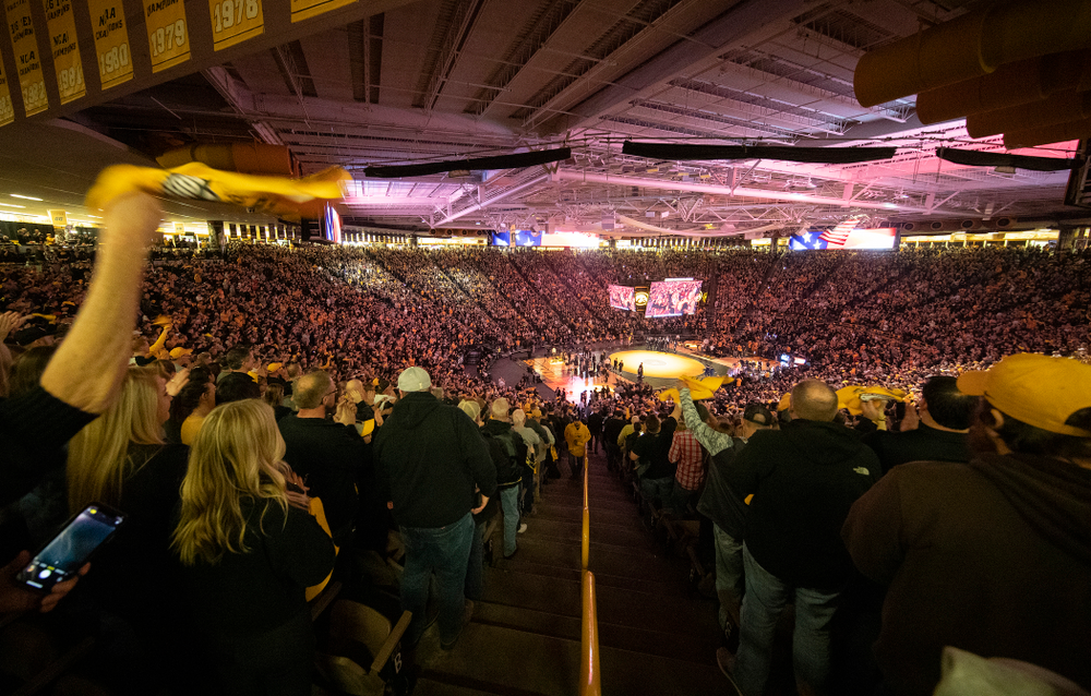 Iowa fans cheer during the dual at Carver-Hawkeye Arena in Iowa City on Friday, January 31, 2020. (Stephen Mally/hawkeyesports.com)