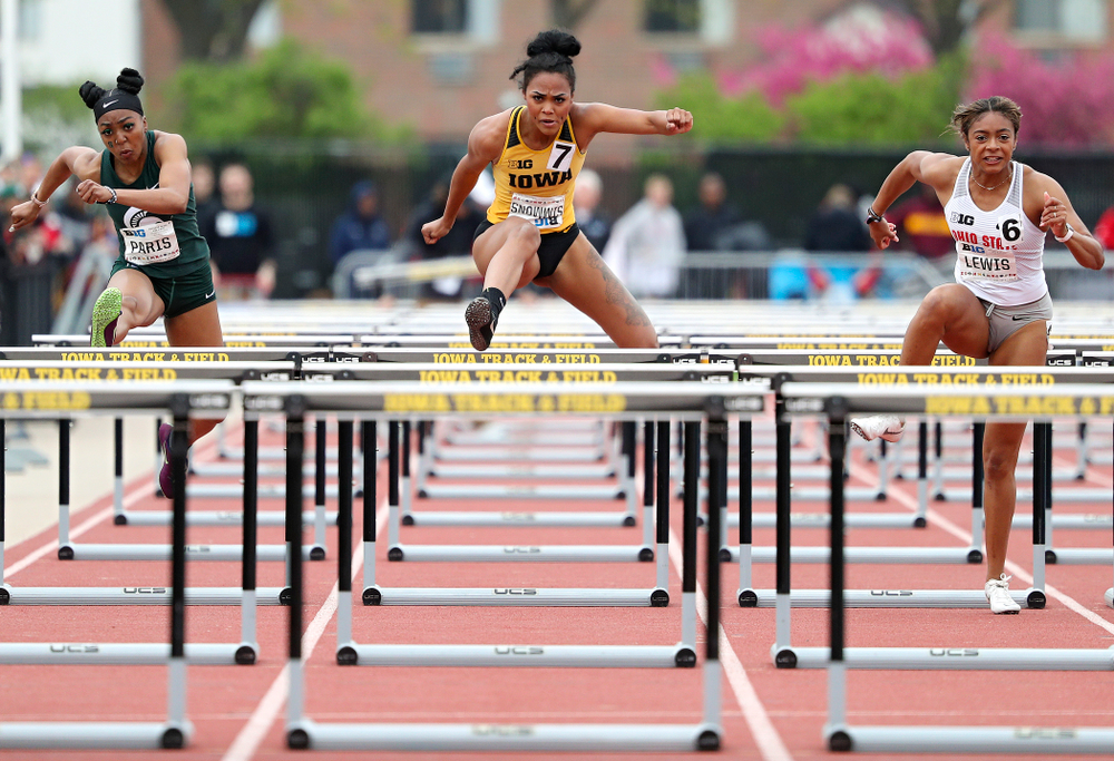 Iowa's Tria Simmons runs the women's 100 meter hurdles event on the third day of the Big Ten Outdoor Track and Field Championships at Francis X. Cretzmeyer Track in Iowa City on Sunday, May. 12, 2019. (Stephen Mally/hawkeyesports.com)