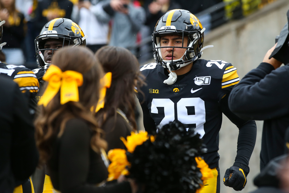 Iowa Hawkeyes defensive back Sebastian Castro (29) during Iowa football vs Purdue on Saturday, October 19, 2019 at Kinnick Stadium. (Lily Smith/hawkeyesports.com)
