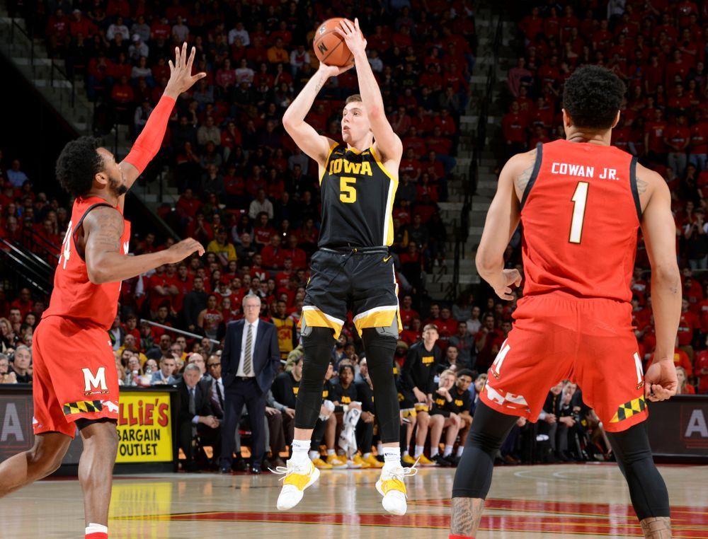 Iowa Hawkeyes guard CJ Fredrick (5) puts up a shot during their game at the Xfinity Center in College Park, MD on Thursday, January 30, 2020. (University of Maryland Athletics)