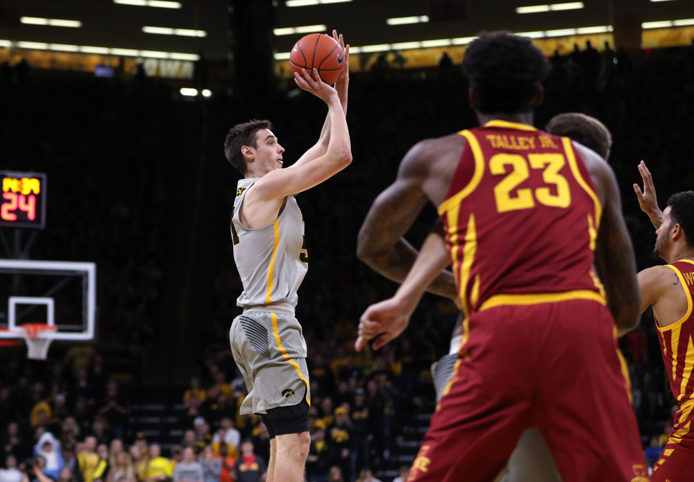 Iowa Hawkeyes forward Nicholas Baer (51) against the Iowa State Cyclones in the Iowa Corn Cy-Hawk Series Thursday, December 6, 2018 at Carver-Hawkeye Arena. (Brian Ray/hawkeyesports.com)