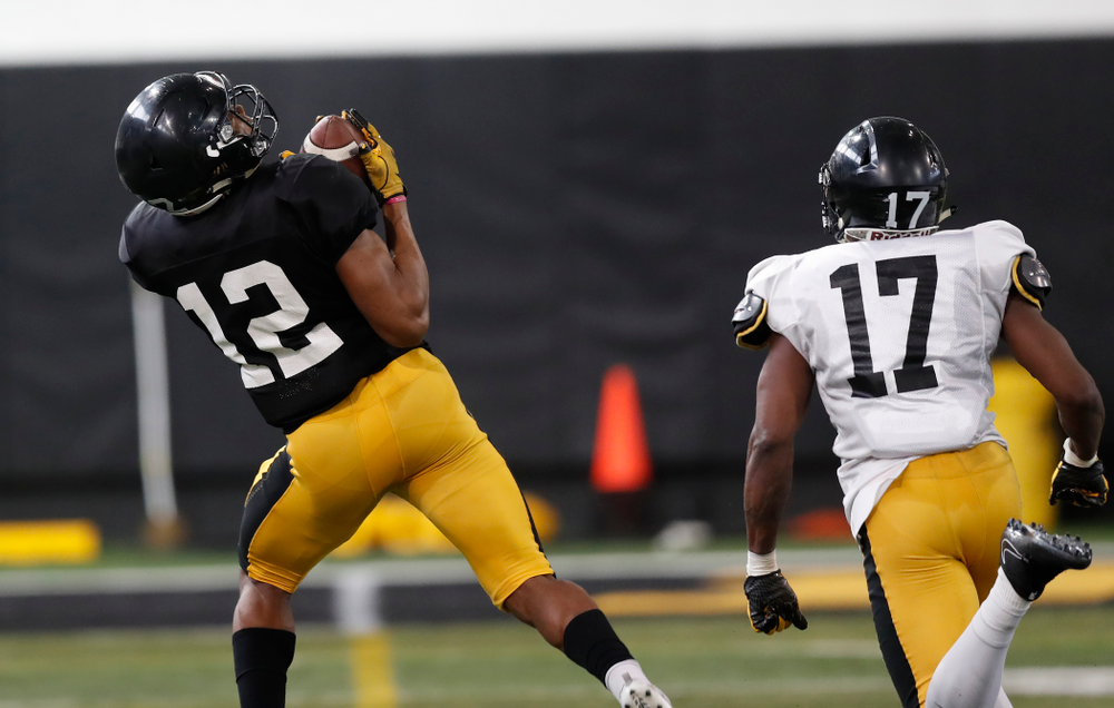 Iowa Hawkeyes wide receiver Brandon Smith (12) during spring practice  Thursday, March 29, 2018 at the Hansen Football Performance Center. (Brian Ray/hawkeyesports.com)