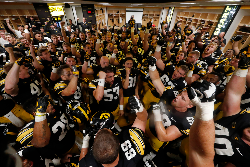 The Iowa Hawkeyes sing the Fight Song following their game against the Iowa State Cyclones Saturday, September 8, 2018 at Kinnick Stadium. (Brian Ray/hawkeyesports.com)