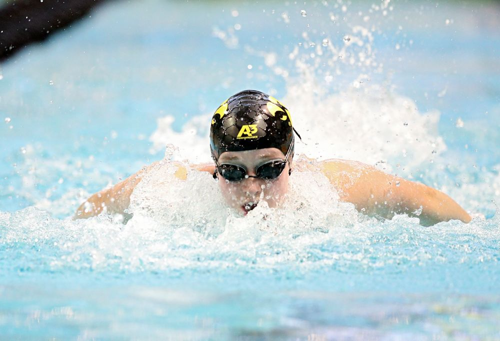 Iowa's Kelsey Drake swims the women's 100 yard butterfly preliminary event during the 2020 Women's Big Ten Swimming and Diving Championships at the Campus Recreation and Wellness Center in Iowa City on Friday, February 21, 2020. (Stephen Mally/hawkeyesports.com)